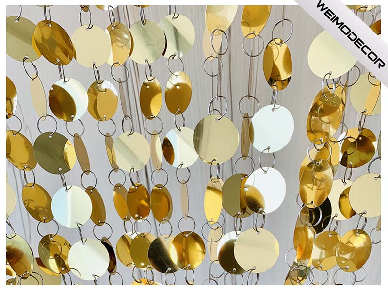 Cina Tenda luccicante personalizzata con paillettes riflettenti oro produttori-Weimodecor