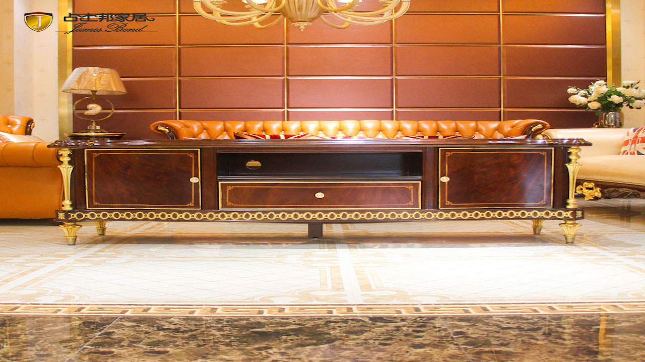 Classic flat screen tv cabinets design 14k gold and solid wood JP665