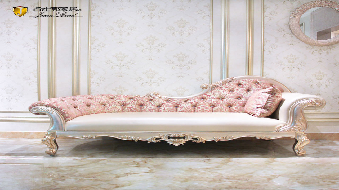Classic sofa chaise longue design rose gold and solid wood E193 James Bond