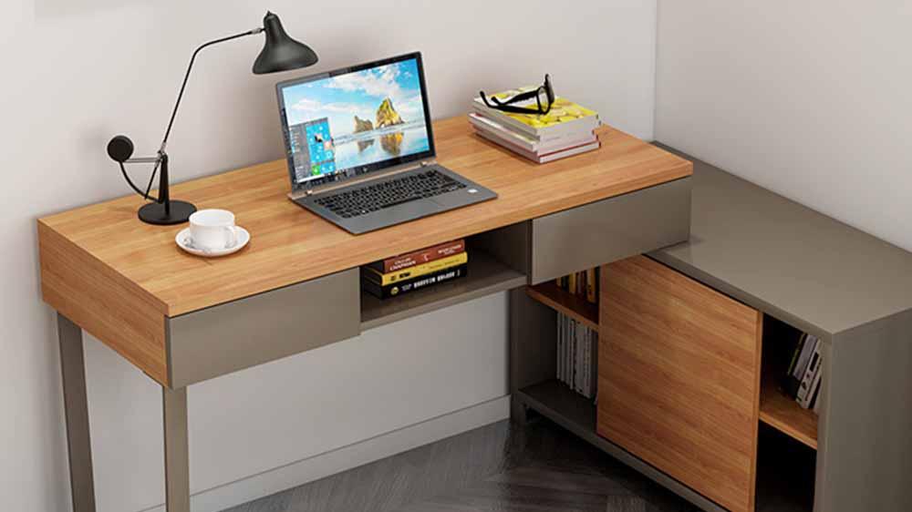 シンプルでモダンなコーナーデスク本棚キャビネットの組み合わせ
