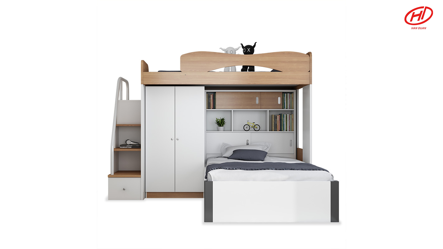 Upper and lower bed height bed mother bed children bed multi-functional desk wardrobe combination bed bunk bed storage bed