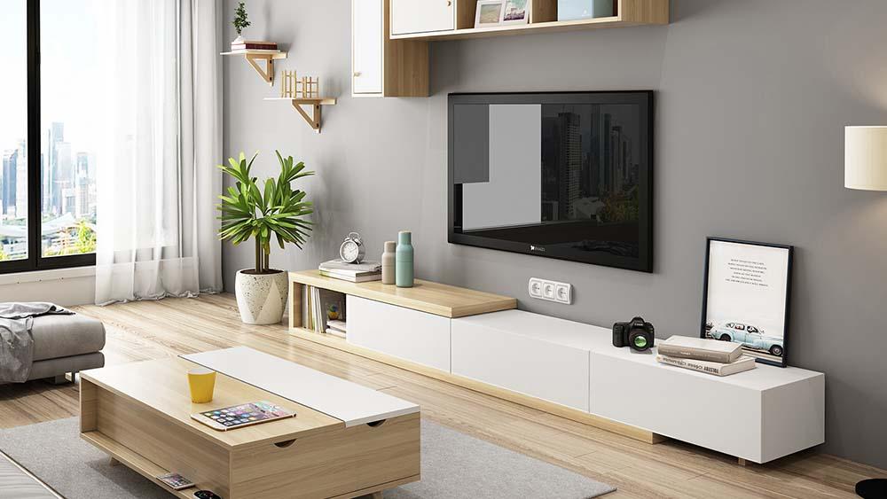 TV cabinet retractable coffee table combination