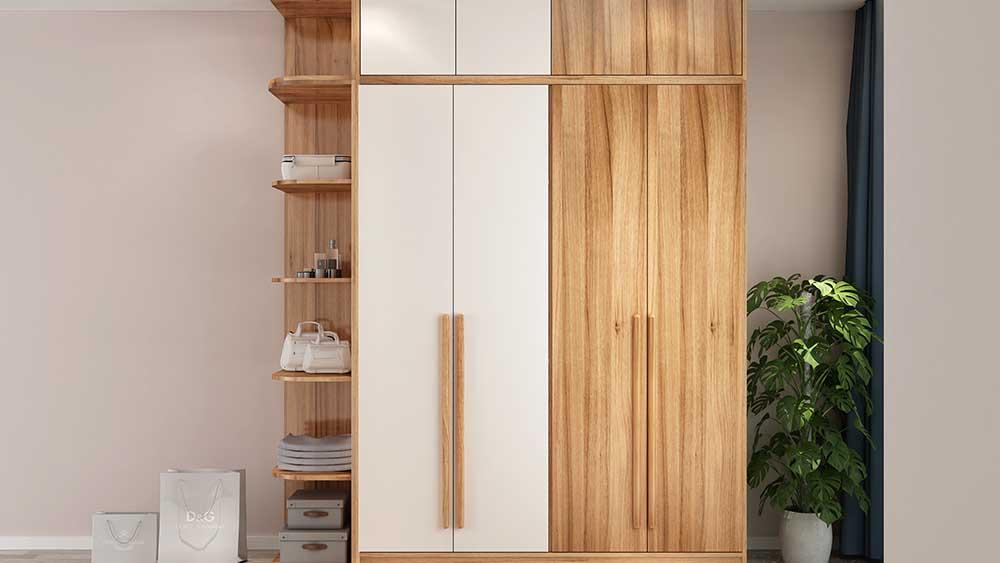 Solid wood board assembly bedroom side door four door wardrobe