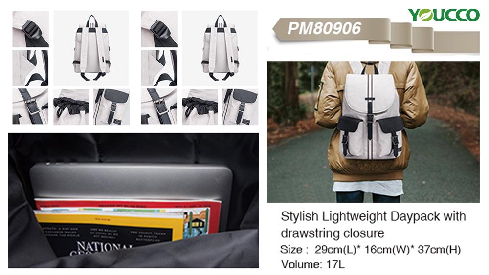 Stylish lightweight daypack with drawstring closure