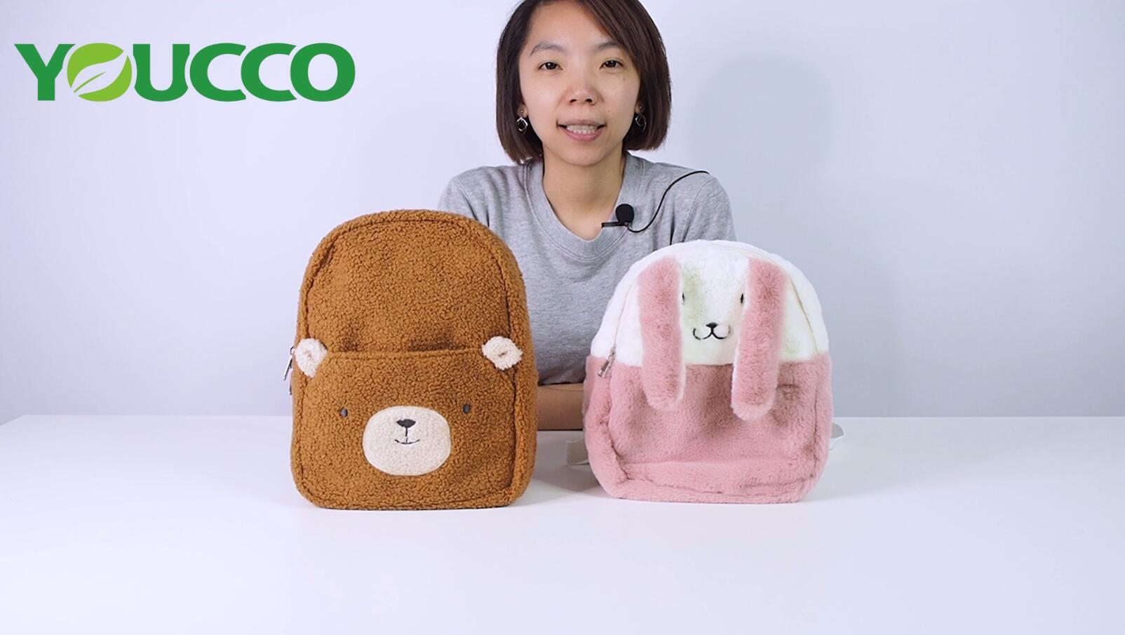 Two styles Hairy Kids Bags Backpacks