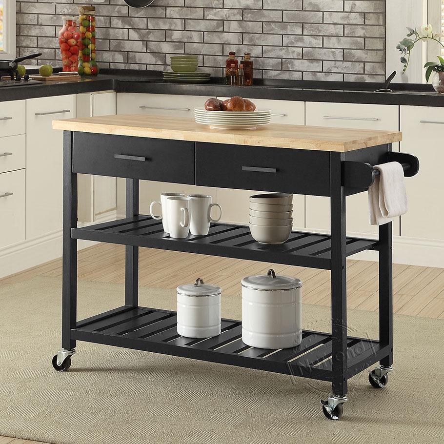 مخصص جزيرة مطبخ مخصصة مع رفوف التخزين عربة المطبخ على عجلات 102052