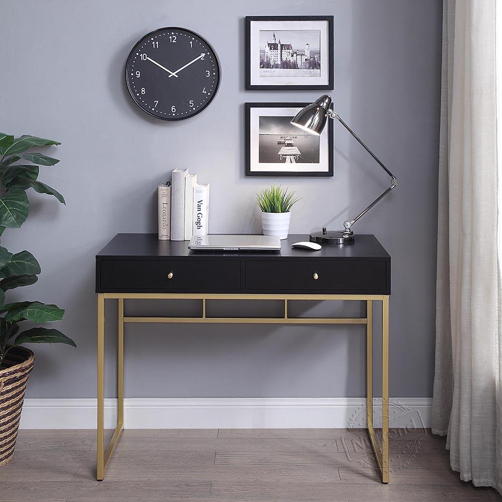 Weißgold Schreibtisch mit 2 Schubladen und Metallbeinen, perfekt für kleine Home Office, einfache Studie Make-up Eitelkeit Konsole Dressing Tisch Moderne Möbel 503141