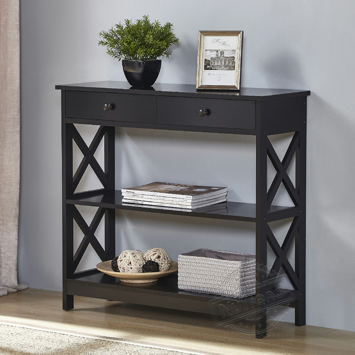 Cross Black Console Table with 2 Drawers and Shelves 203140