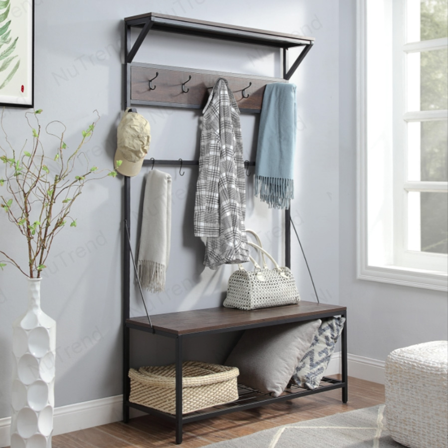 Entryway Bench with Coat Rack Shoe Storage Bench,Industrial Hallway Tree with Bench,3-IN-1 organizer for your front entrance 206200