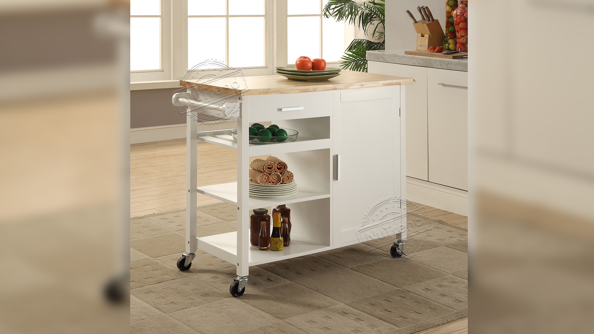 Professional Large Rolling Kitchen Island Cart with Rubber Wood Top Manufacturers 102036