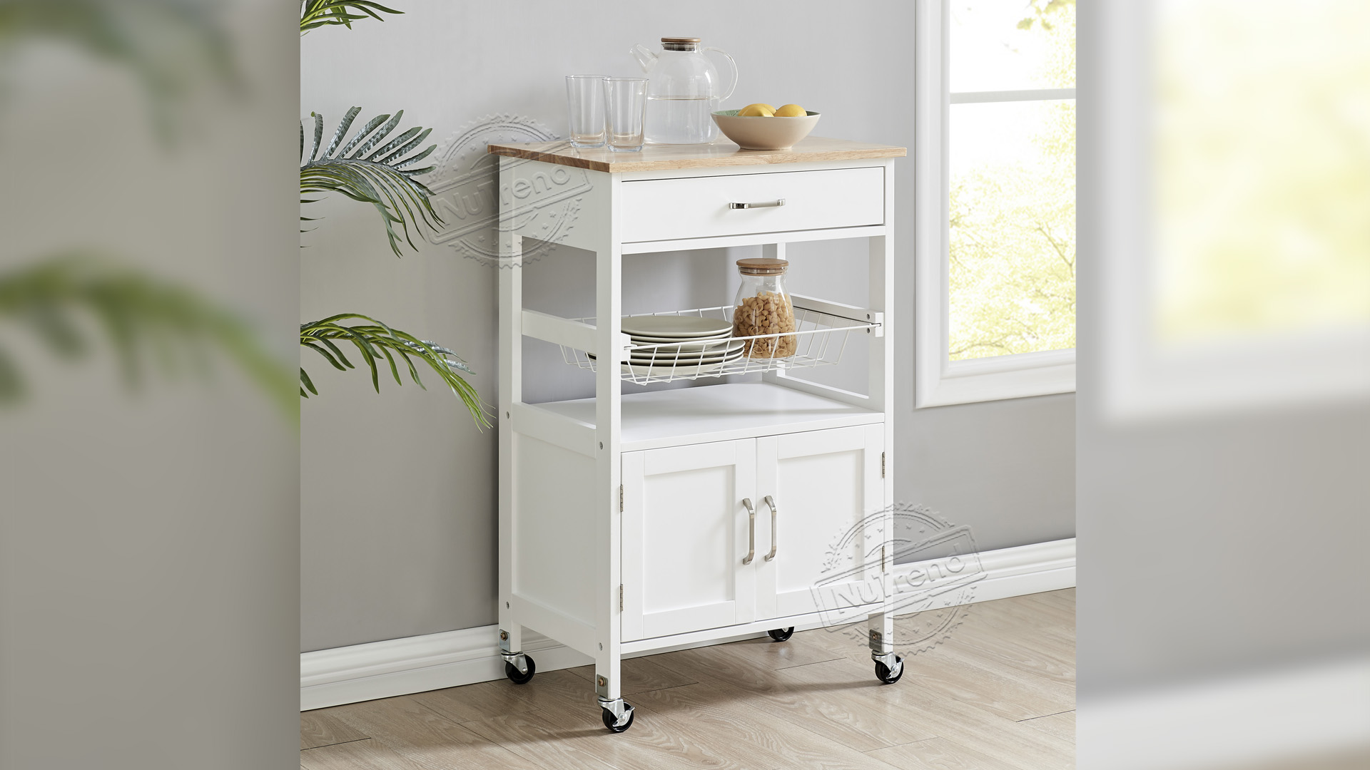 Portable Kitchen Island Small Rolling Kitchen Cart with Wire Baskets Veg Trolley 102201