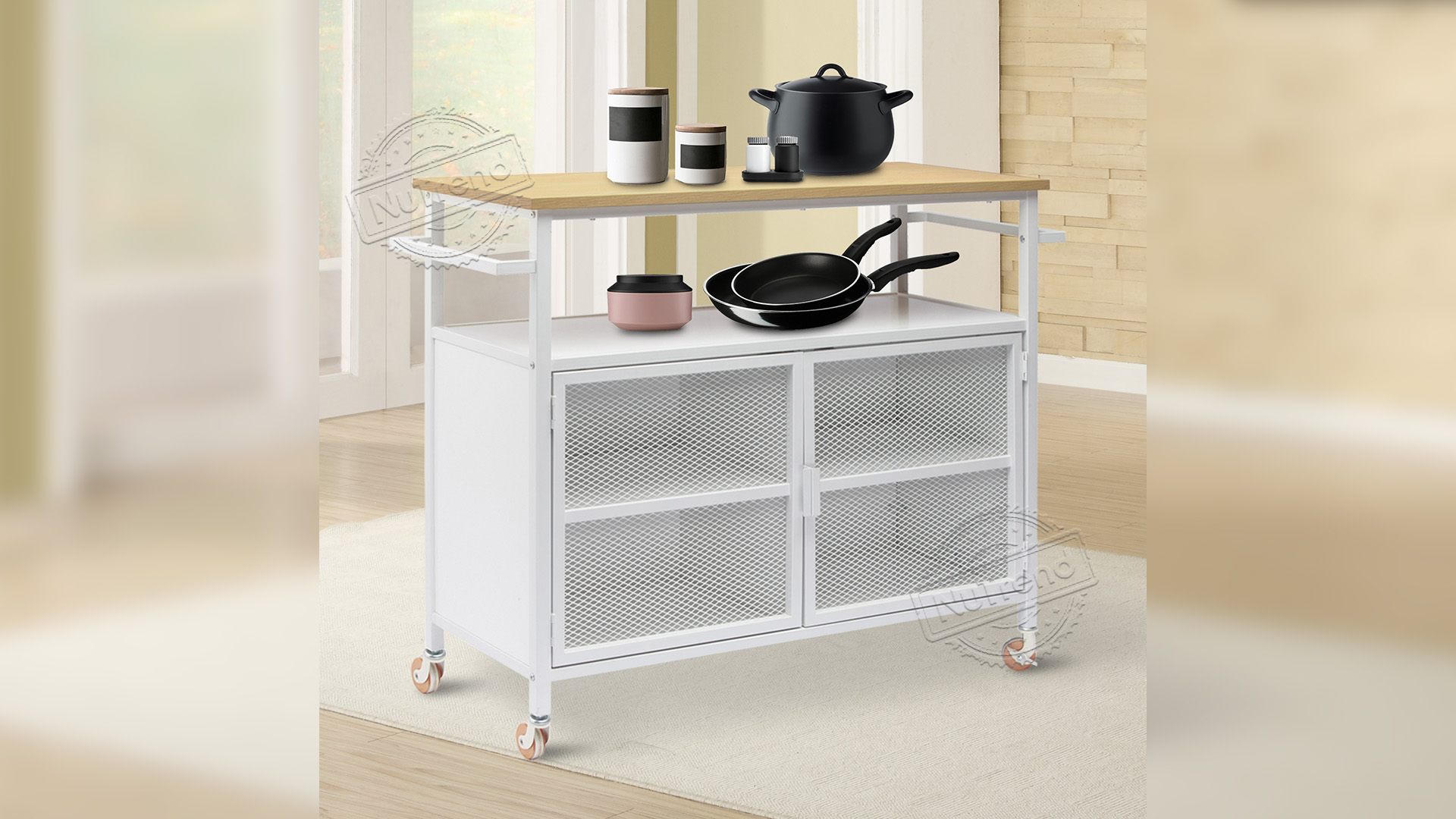White Large Movable Modern Kitchen Trolley With Metal Mesh Door Supplier 102212