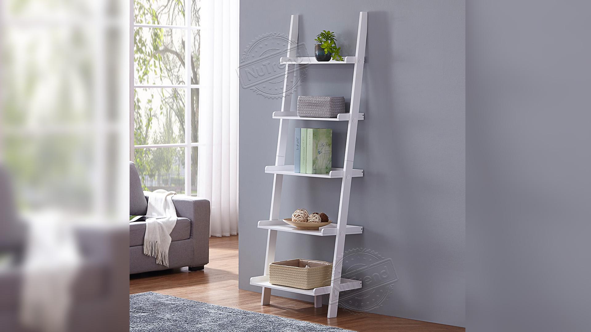 5 niveles inclinados escalera estante madera escalera negro Liquder librero para cualquier habitación 502107