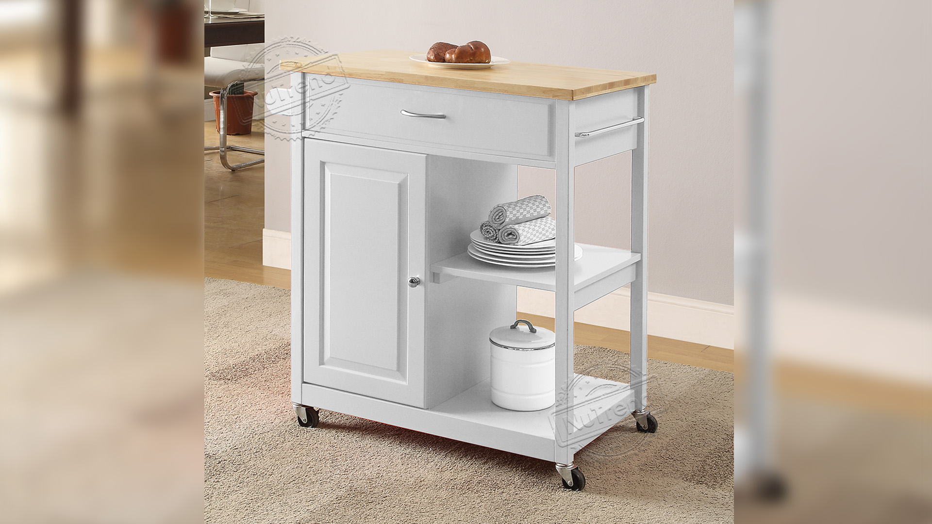 Professional Microwave Kitchen Island Cart with Solid Wood Top Manufacturers 102064