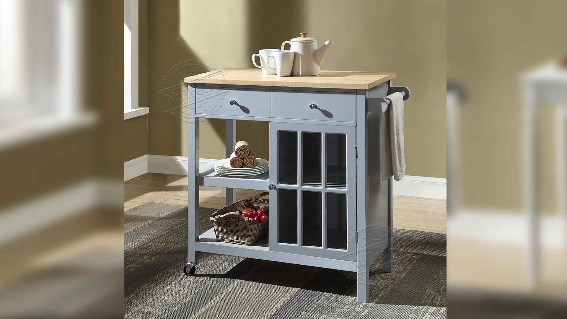 جودة عالية موبايل مطبخ جزيرة المطبخ معدات تخزين مع أدراج وخزانة باب زجاجي 102146