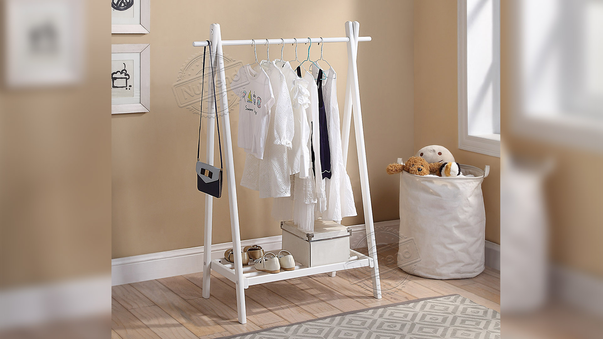 Small Wooden White Kids Coat Rack Storage For Kids Furniture 206045