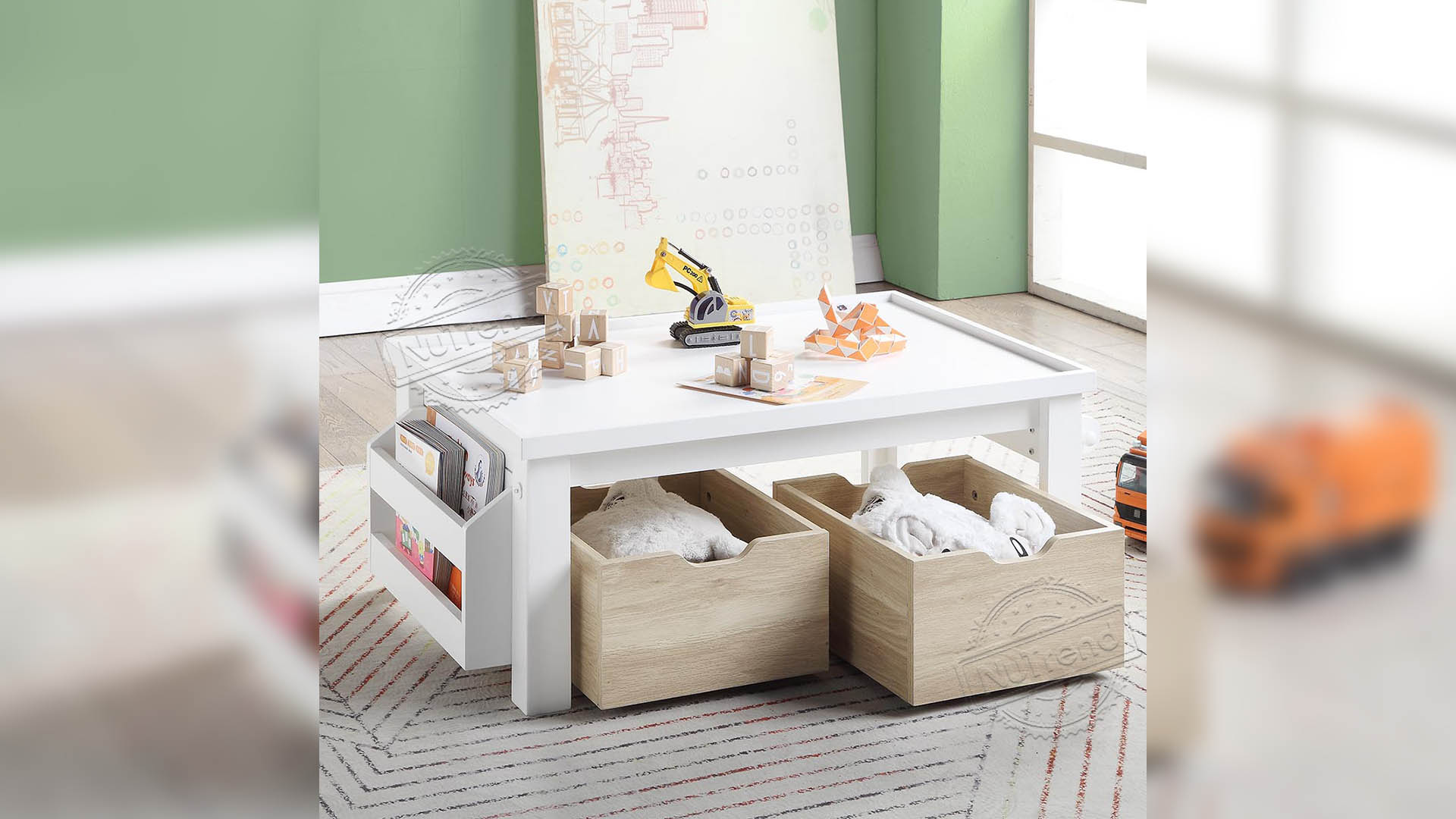 Wooden White Toddler Activity Table With Storage Box For Kids Furniture 701046