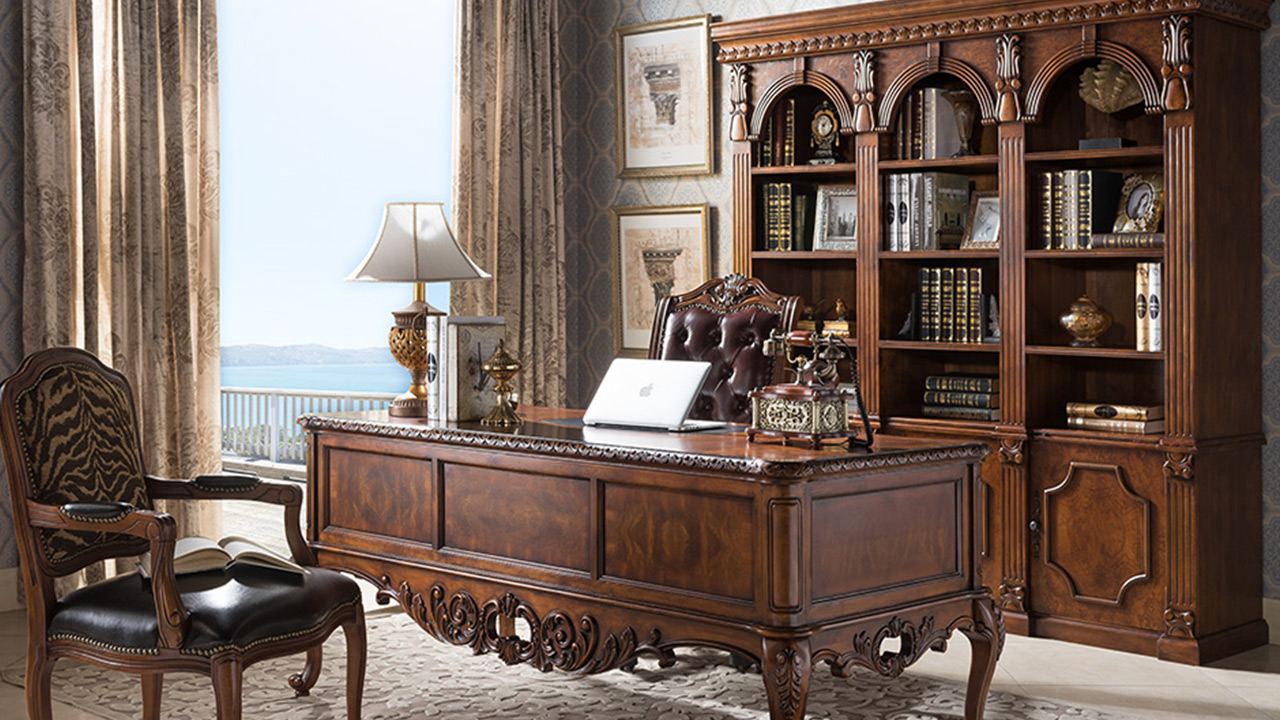 Goodwin furniture Luxurious solid wood bookshelf bookcase from China factory GH38