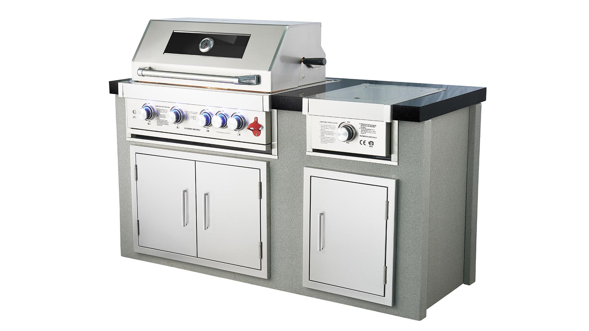 WST-005 Outdoor Kitchen Rustfritt Stål 5 Brennere 4 Furnace 1 Side Furnace 1 Infrarød Back Burner Villa Party Bygget i BBQ Gas Grills