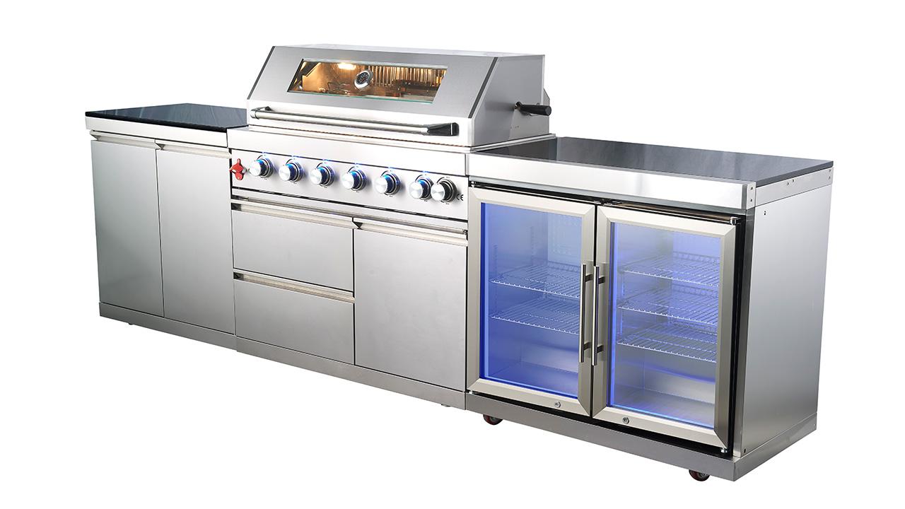 WST-001-2-3 Tilpasset enkelt montert kommersielt rustfritt stål BBQ gassgrill Moderne utendørs kjøkken