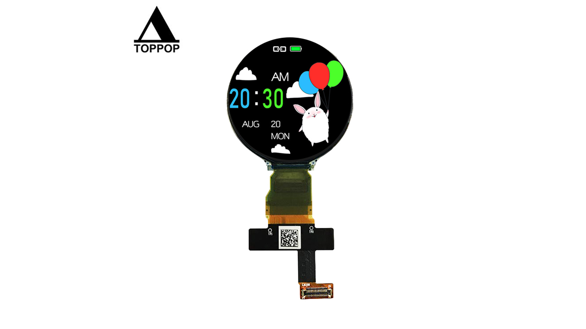 1.2 inch MIPI SPI 390*390 Round OLED Screen IPS Smart Watch Circular AMOLED Display LCD Module Capacitive Touch Panel Optional 30 Pin FPC 350cd/m2 toppoplcd