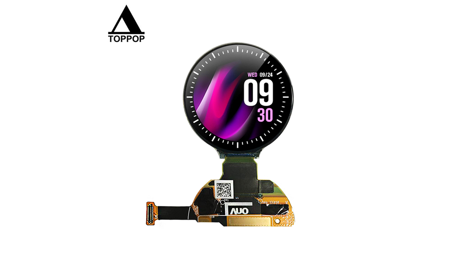 """1.2 inch 390*390 IPS Round OLED Screen 1.2"""" Circular Watch AMOLED Display MIPI SPI Interface Customize Capacitive Touch Panel 24 Pin Board to Board Connector 350cd/m2 toppoplcd"""