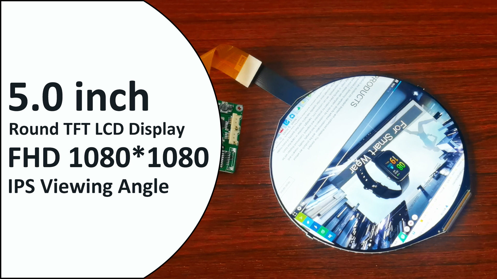 Stock for Promotion--5.0 inch 1080*1080 Round TFT LCD Display IPS MIPI DSI Circular LCD Module Color Screen Circle TFT Panel HX8399C 50 Pin B2B FPC HDMI Board Optional Manufacturer OEM ODM toppoplcd
