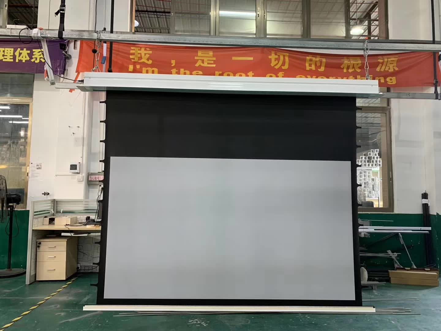 Premium built in recessed ceilling tab tensioned motorized projection screen with UHD grey screens