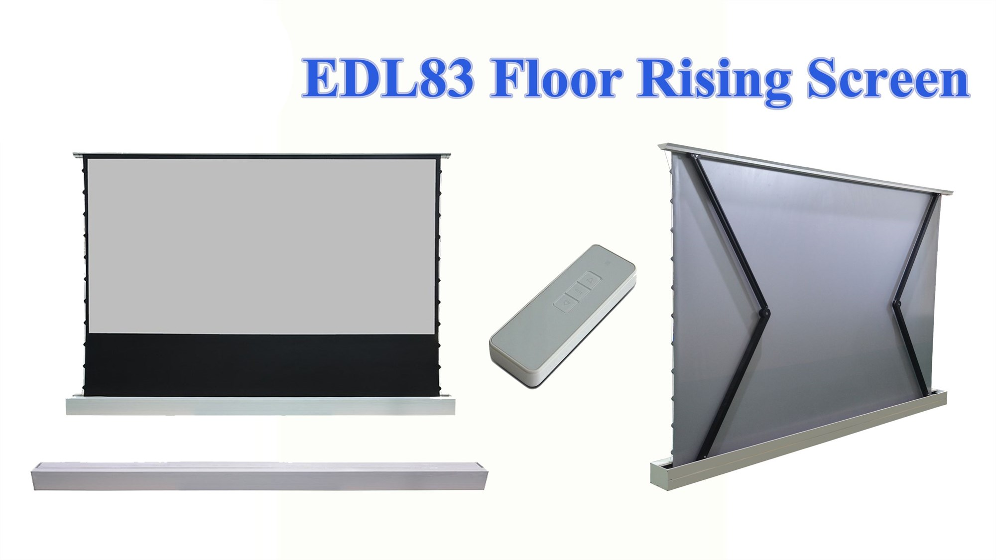 EDL83 motorized floor rising projector screen with WF1 and remote control