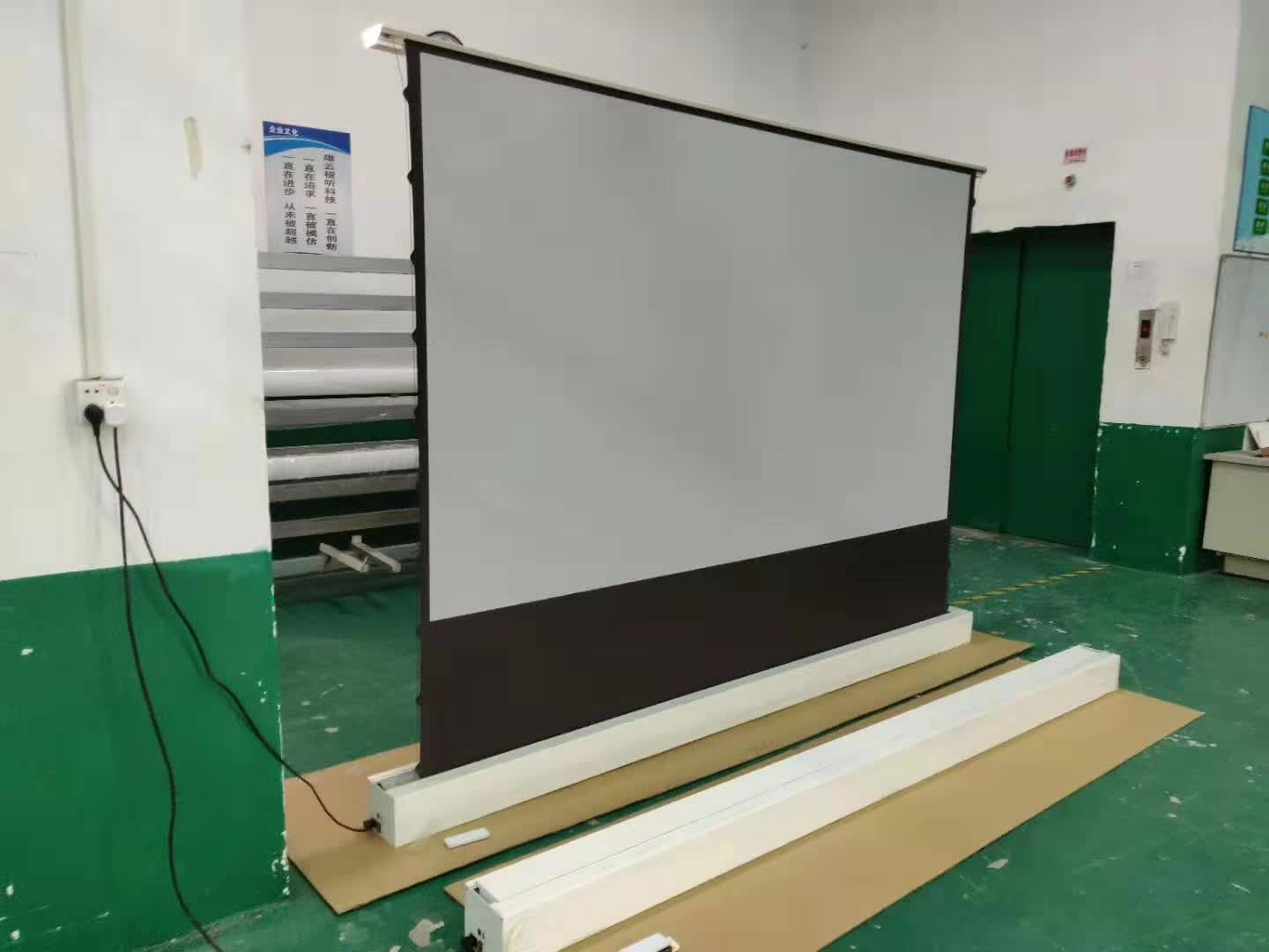 Motorized Electric Floor rising front projection screen motorised floor stand Ultra short throw laser grey projector screens