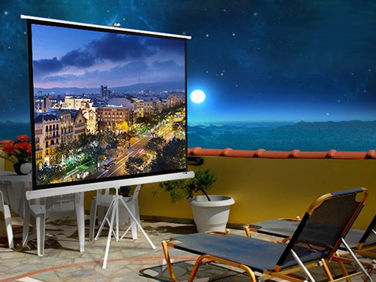 Matte white manual/portable tripod projection screen+ Karaoke system+Micro projector perfect for outdoor activities/hotel/school/home/office