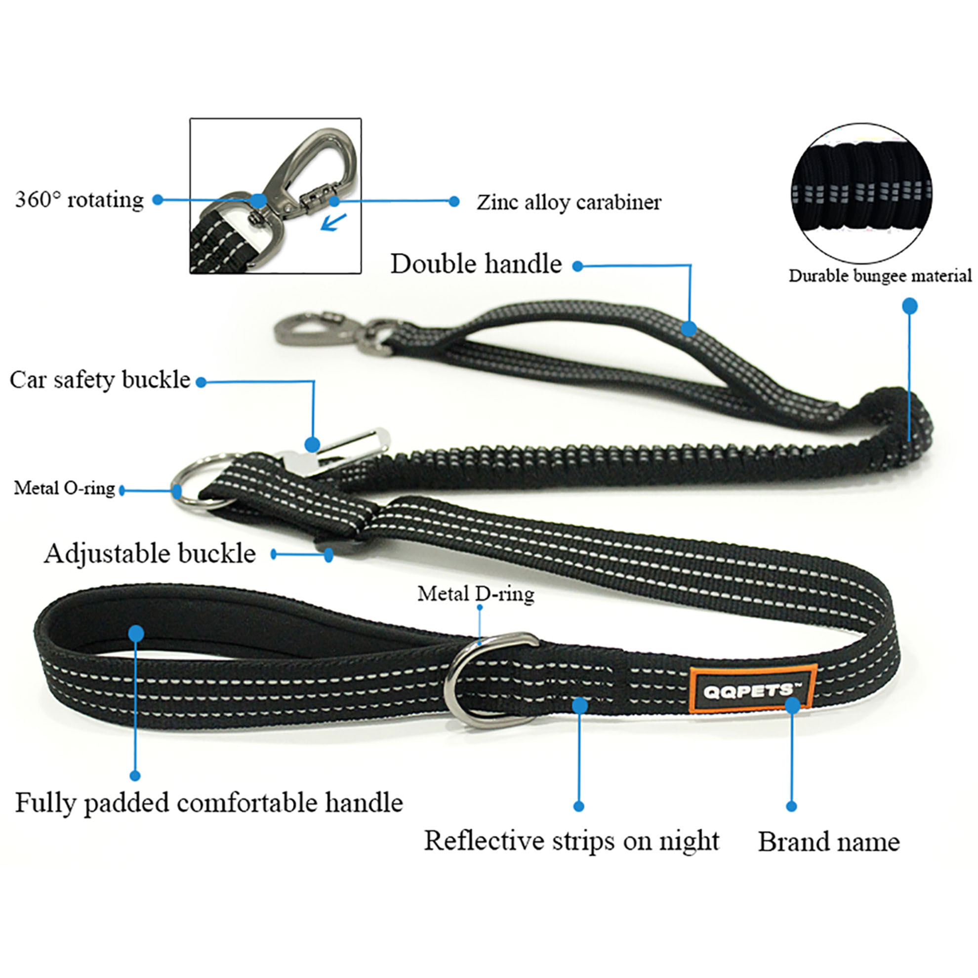 Customized polyester material spring car seat dog leash with double padded handle