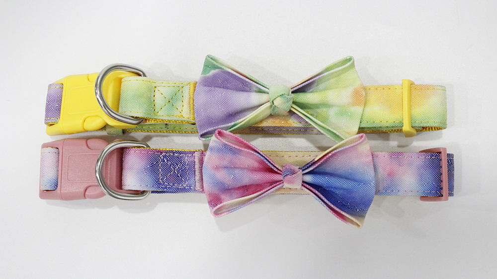 Professional custom dog collar with bow and matching custom dog bandana manufacturers