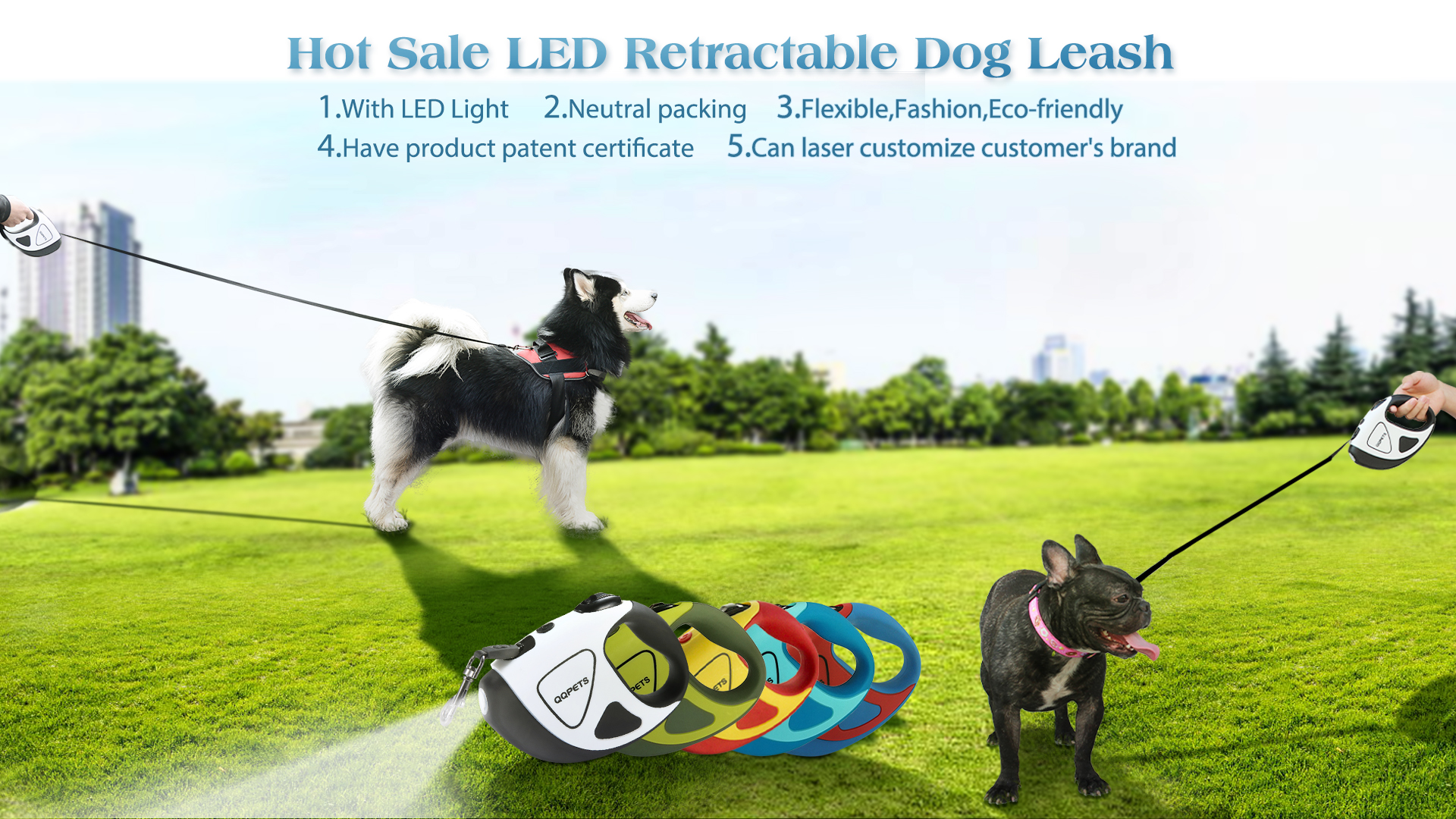 Customized new style wholesale led retractable dog leash