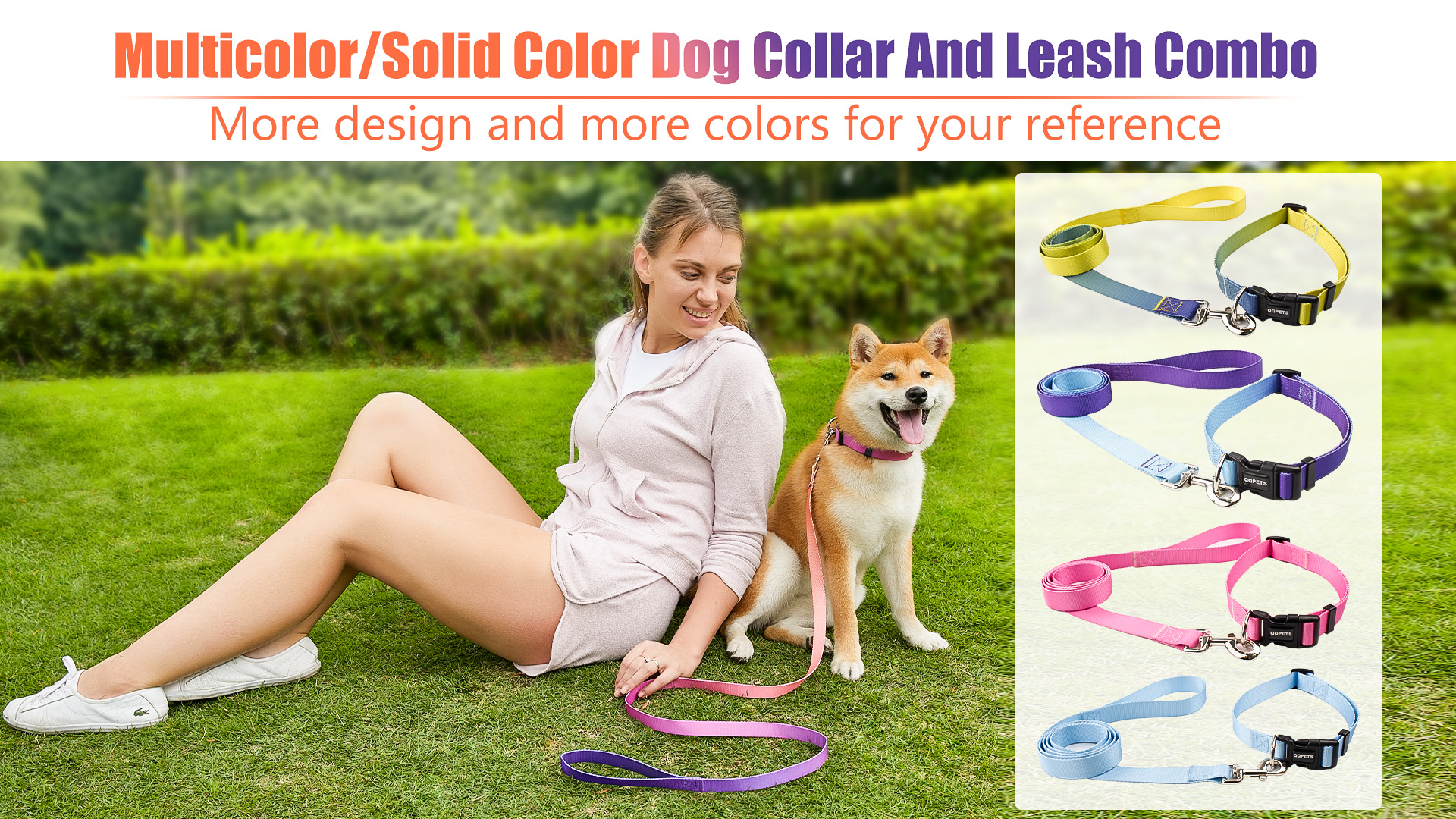 Fashion Customized Polyester Multicolor/Solid Color Dog Collar And Leash Set