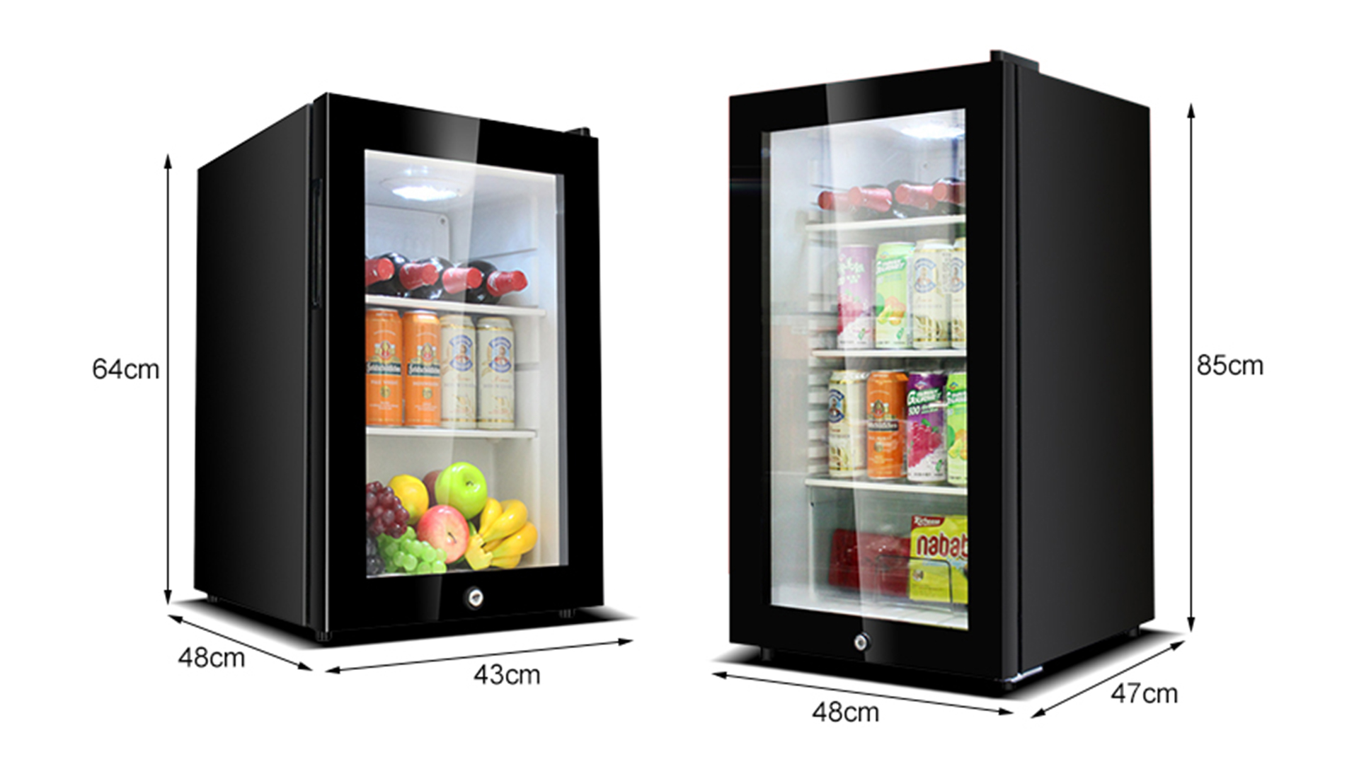 62L/95L Refrigerator Home Appliances Small Size Freezer / Mobile Home Fridge Freezer / Mini Bar Fridge with Glass Door