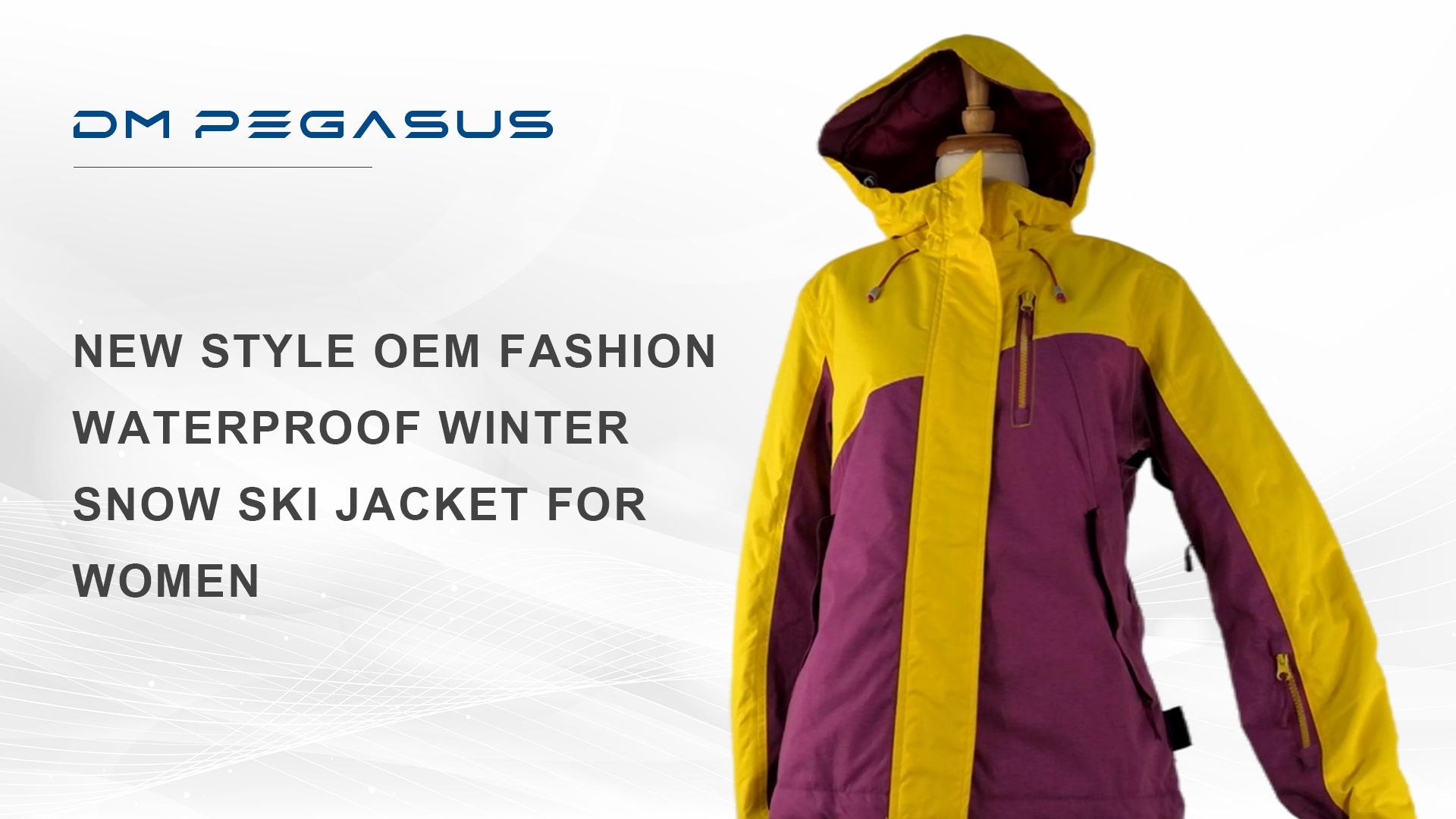 女性のための新しいスタイルのOEMファッション防水冬の雪スキージャケット