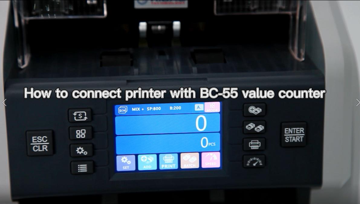 BC-55 değeri sayacıyla yazıcıyı nasıl bağlayabilirsiniz?