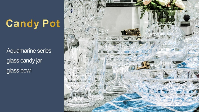 Aquamarine Series Glass Candy Jar Glass Bowl Storage JarAR
