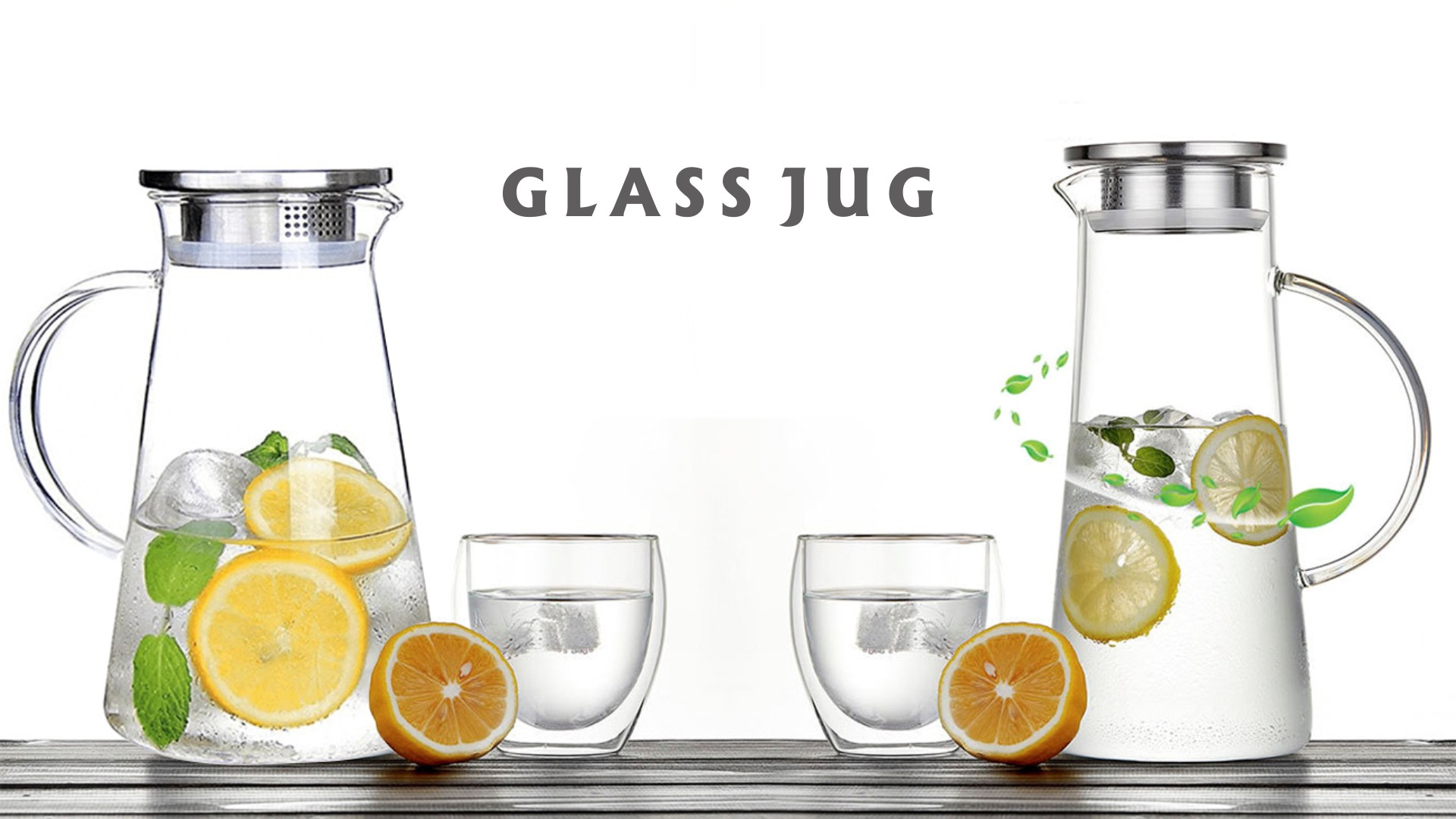 Water Jug Glass Pitcher With Lid, Heat-Resistant Water Jug For Hot/Cold Water, Ice Tea And Juice Beverage |JH