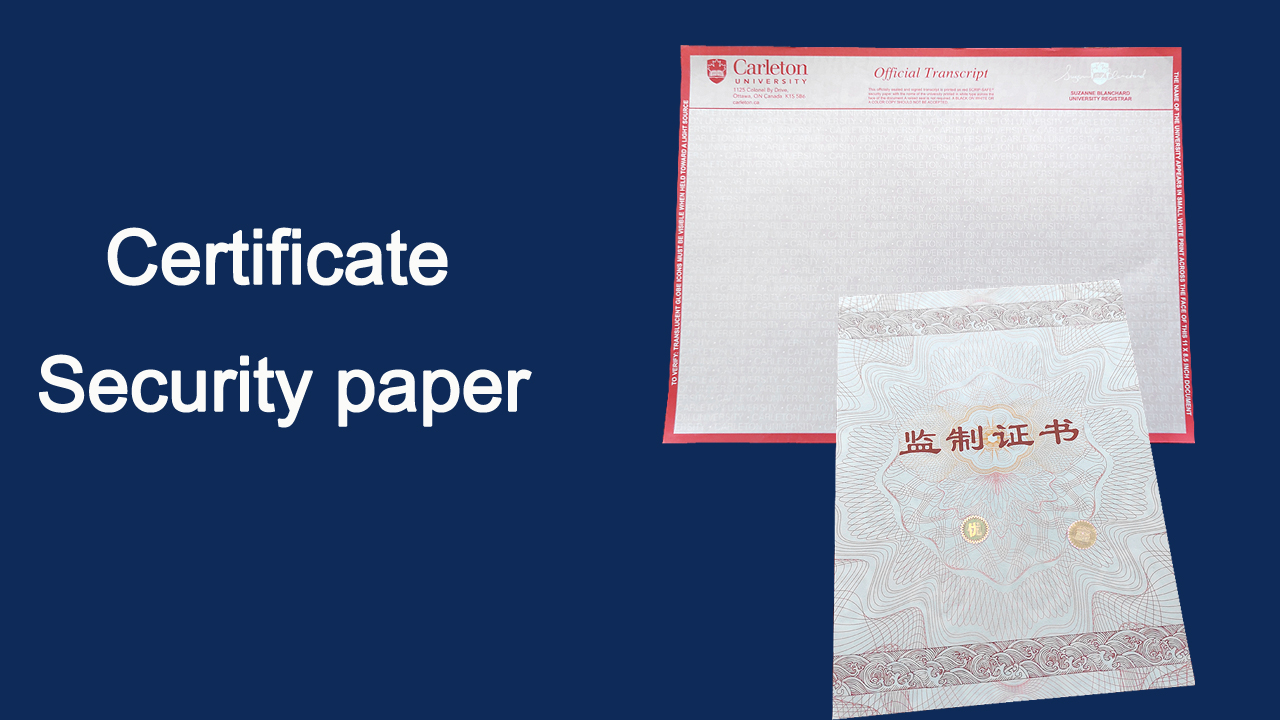 Customized Genuine custom award certificate paper/anti-counterfeiting document paper manufacturers From China