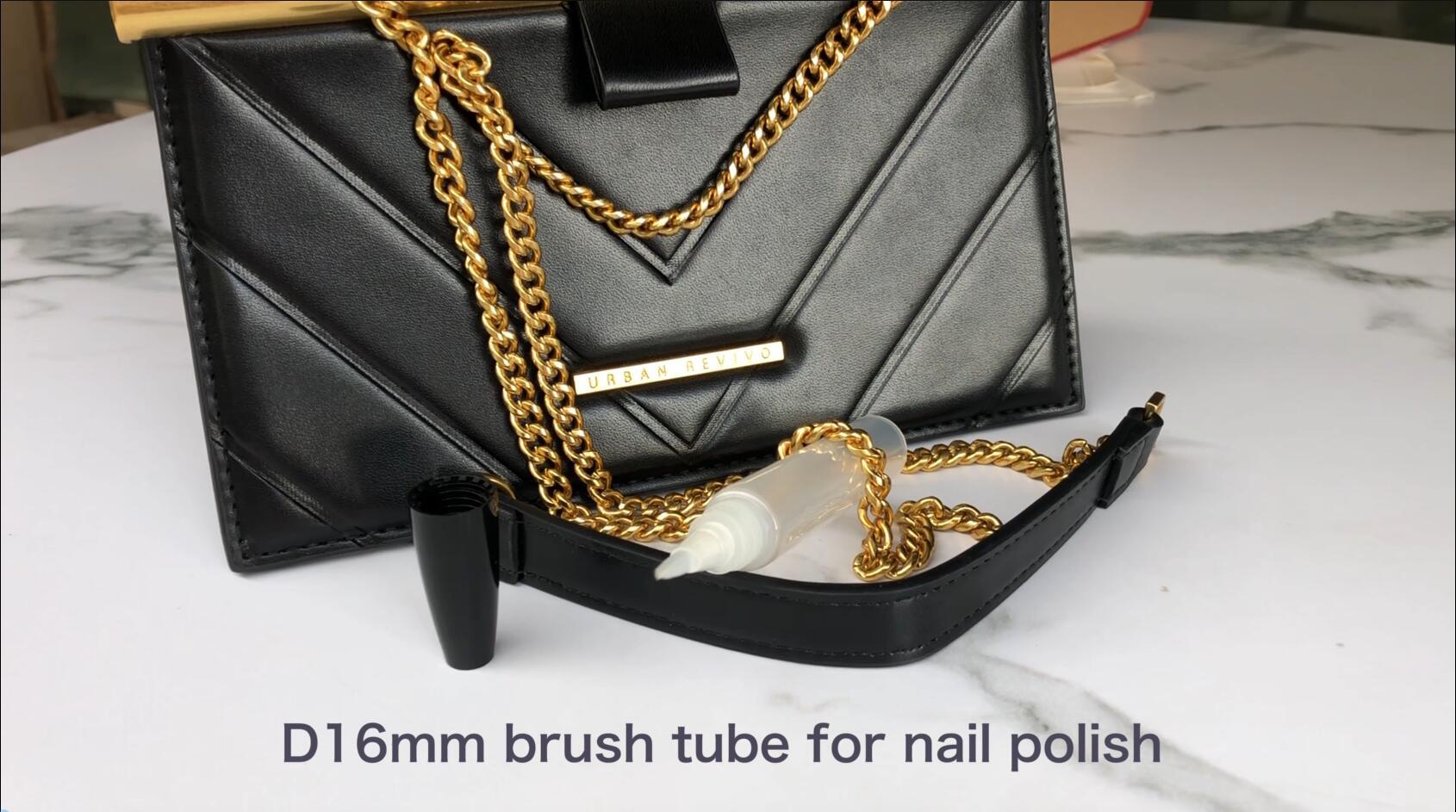 D16mm أنبوب مستحضرات التجميل مع فرشاة قضيب لتجميع الأظافر