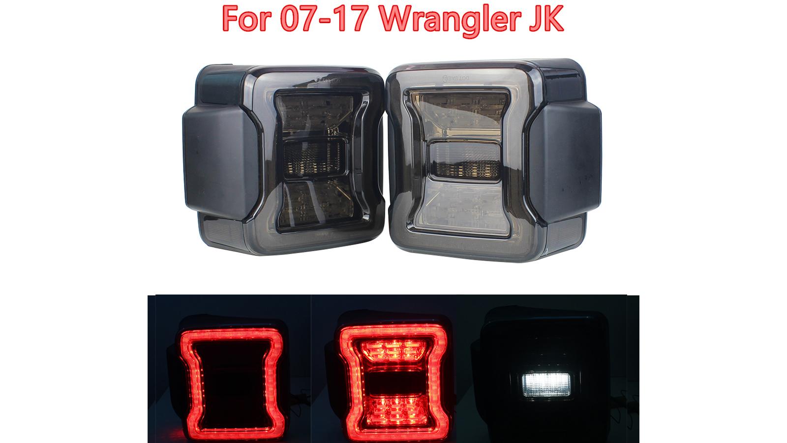 زوج المدخن الصمام الذيل أضواء الفرامل الخلفية مصابيح الذيل عكس ل 07-17 جيب رانجلر JK الولايات المتحدة الأمريكية