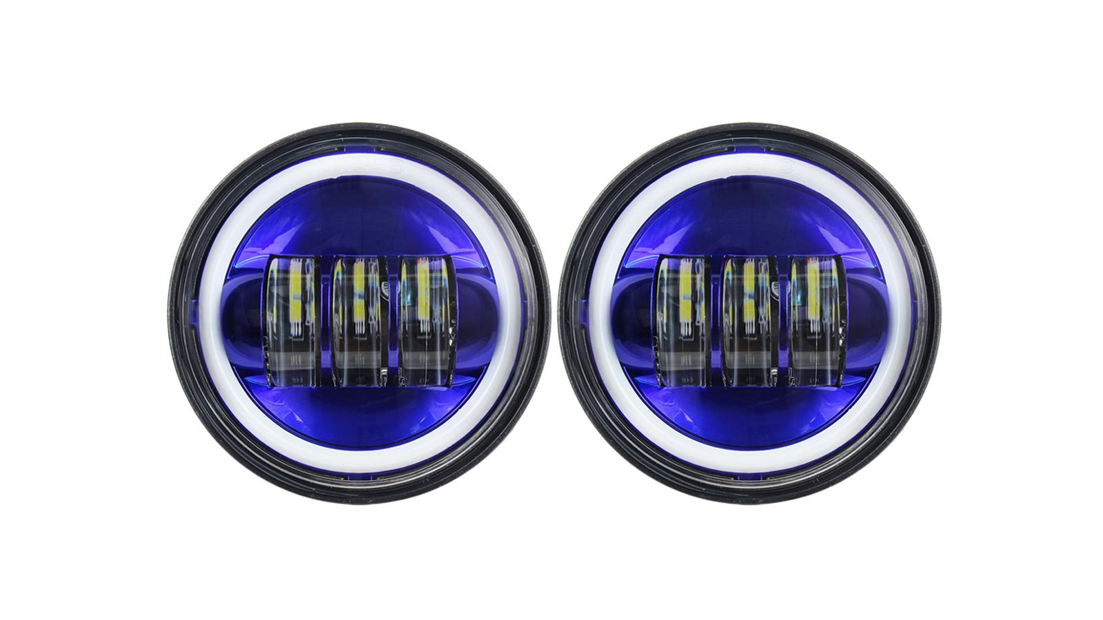 4-1 / 2 4.5 بوصة زرقاء هالو drl الصمام بقعة الضباب يمر مصباح ضوء ل هارلي ديفيدسون الدراجات