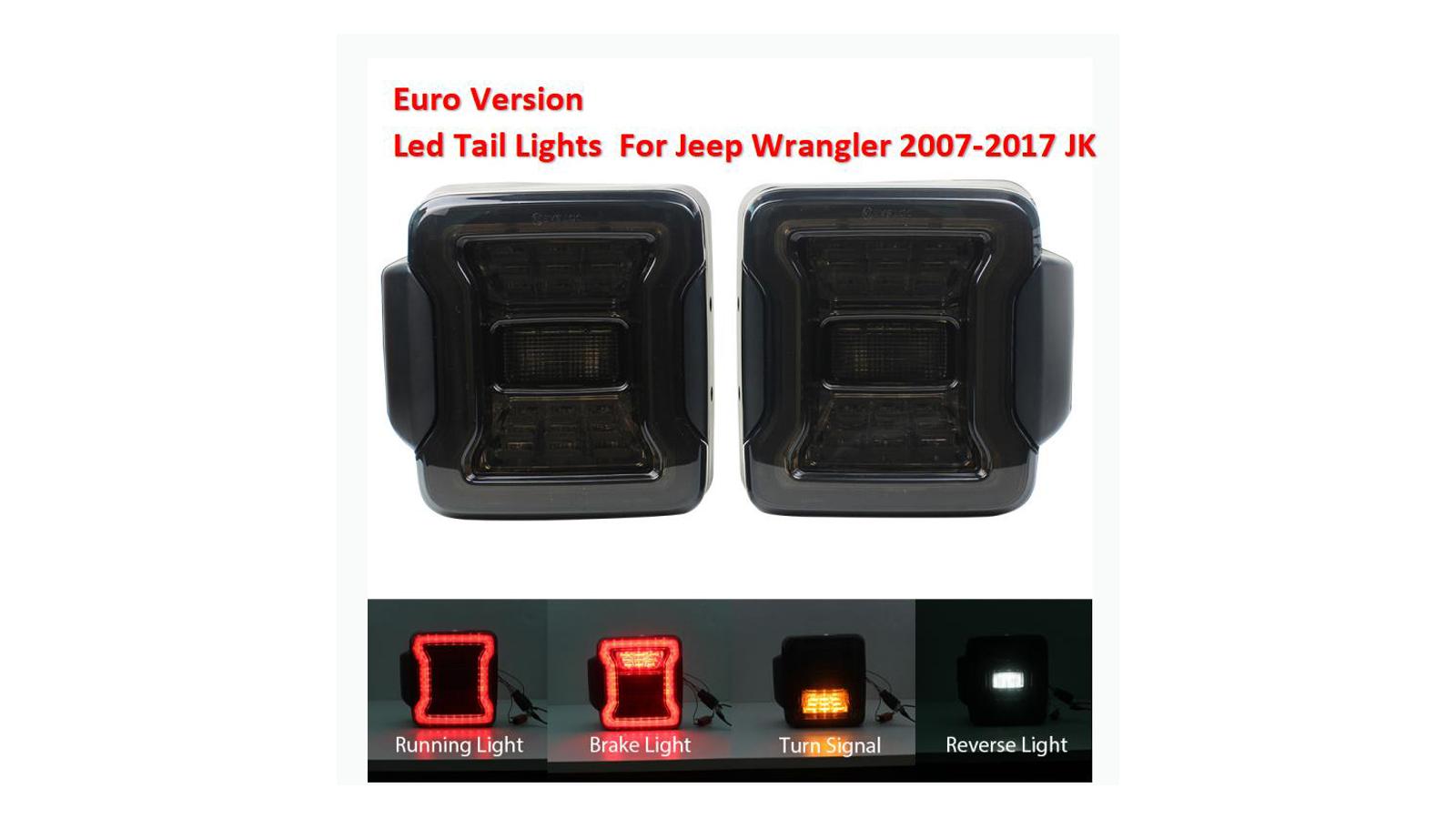 كيت نسخة اليورو ل JEEP WRANGLER JK 2007-17 LED أضواء الذيل عكس الفرامل بدوره إشارة