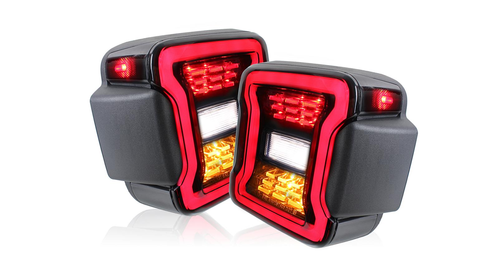 Lampada posteriore nera a LED per Jeep Wrangler JL 2018 + Brake Reverse Signal Signal Lamps Rear Plug EU Plug