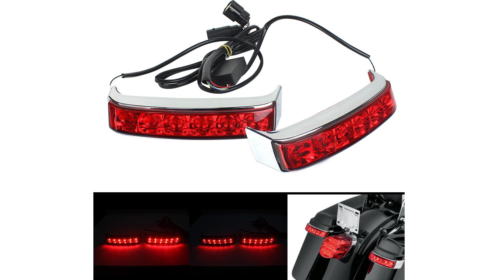 أكياس العدسة الحمراء سرج سرج سرج أدى تشغيل الفرامل بدوره مصباح ضوء ل هارلي جولة 2014-2020