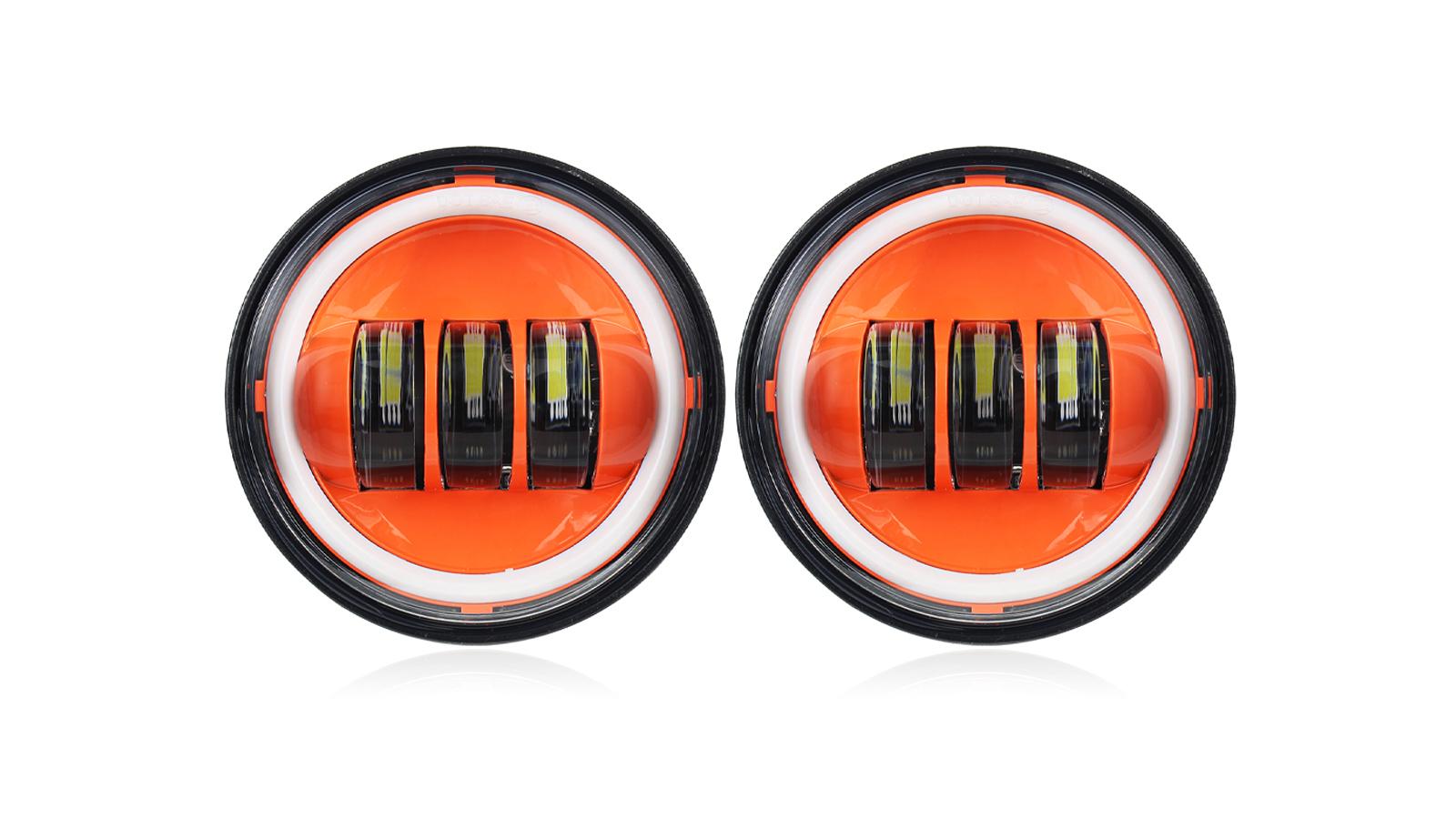 "Orange Halo 4-1 / 2 ""4.5 بوصة أدى ضوء يمر ل هارلي ديفيدسون الضباب مساعد ضوء لمبة العارض بقعة مصباح القيادة"