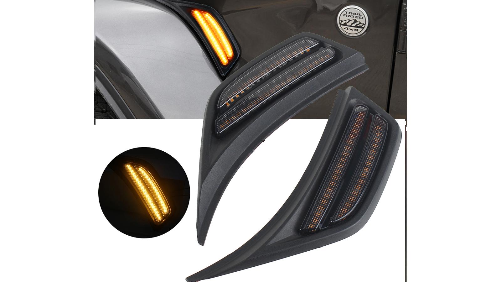 LED Fenderマーカーサイドライトターンシグナルランプ用JLU 2018+