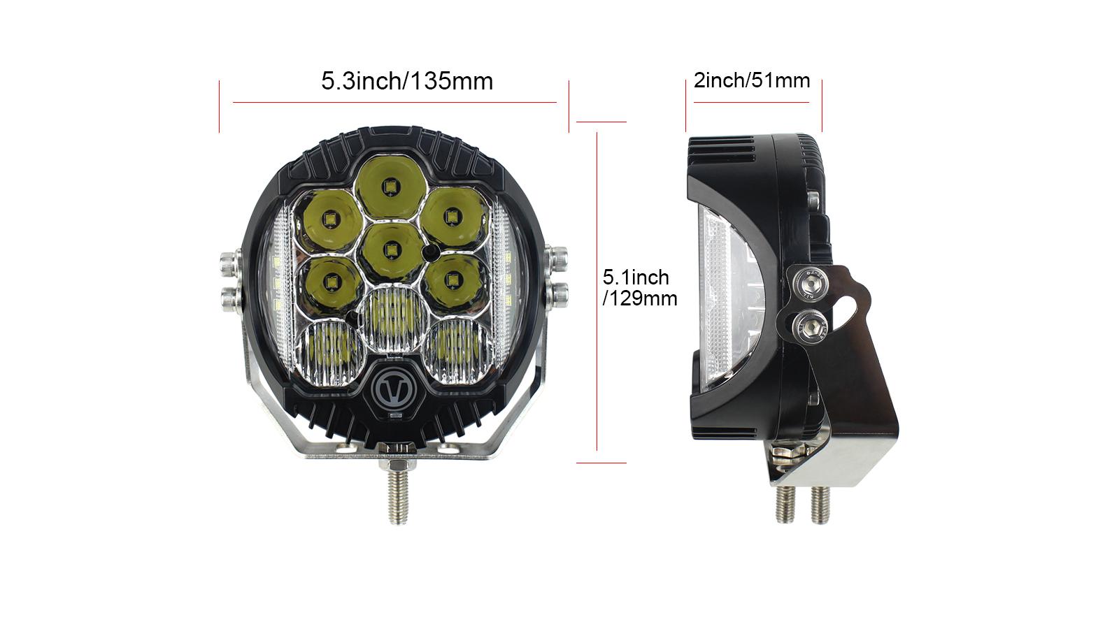 オフロードのトラックの捕獲者ジープATVのための5インチ50W LEDのスポットライトワークライトの走行灯